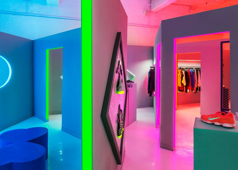 204edb441492d9 Robert Storey Studio uses lurid colours to light Nike pop-up shop