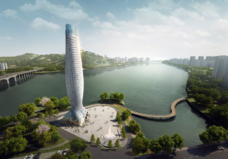 Doumen Observation Tower by RMJM is a fish-inspired skyscraper