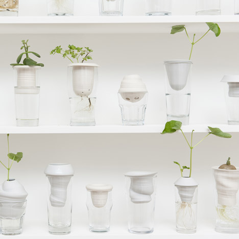 Plantation pots combine hand-thrown porcelain with discarded glasses