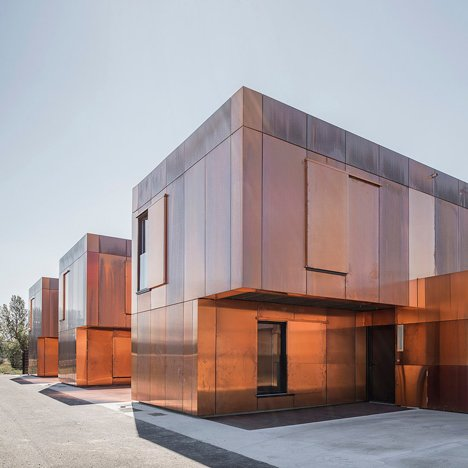 LCR Architectes clads French middle school with tarnished copper panels