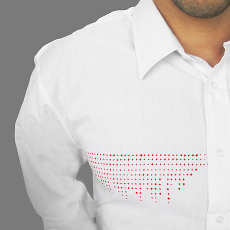 Noyberg & Bulka uses sewing machines to stamp ink patterns onto clothes