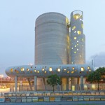 Monolithic concrete silos by VI.B Architecture form Parisian cement company HQ