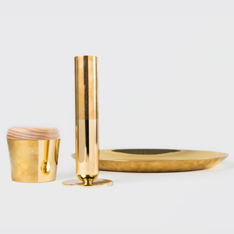 Untreated brass creates contrast in Daniel Schofield's Tarnish tableware collection