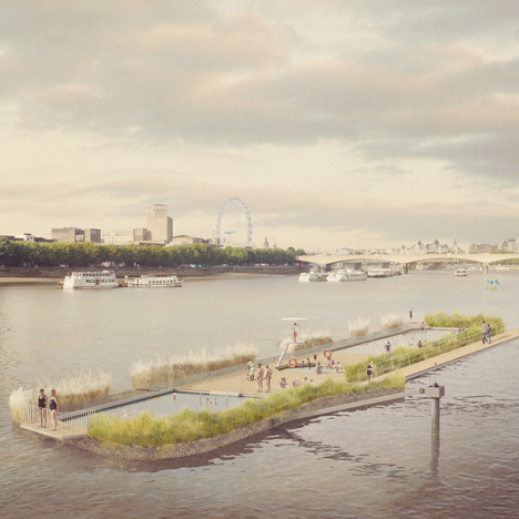 Studio Octopi's Thames Bath concept evolves into floating freshwater pools