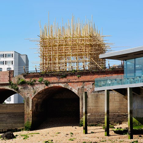 Bamboo lattice by Gabriel Lester perches over a Folkestone railway viaduct