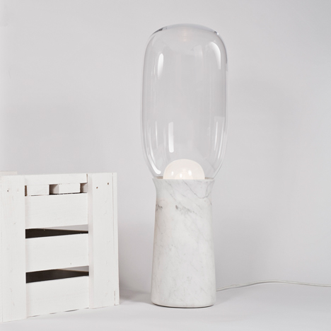 Dan Yeffet creates Torch floor light from marble and glass