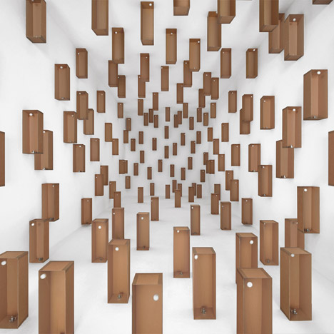 Zimoun uses motors to create moving cardboard installations