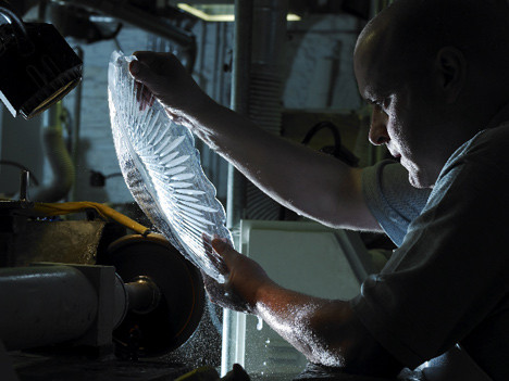 A Waterford Crystal master cutter at work