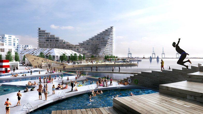"""BIG plans to """"breathe life"""" into Aarhus harbour with swimming baths and beach huts"""