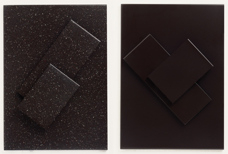 DuPont Corian in Deep Bedrock (left) and Deep-Espresso (right)