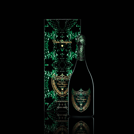 Limited edition bottle and box of Dom Perignon, designed by Iris van Herpen