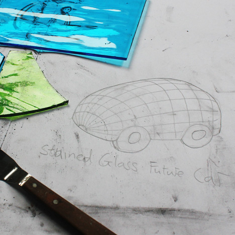 "Behind the scenes with Dominic Wilcox making his ""stained-glass driverless car"""