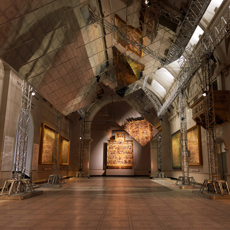 Barber and Osgerby's giant rotating mirrors reflect Raphael paintings inside the V&A