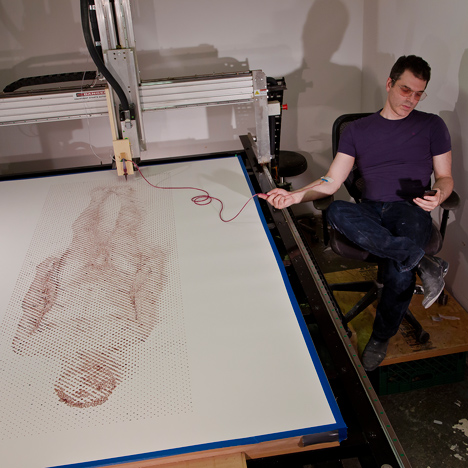Ted Lawson uses his own blood to print a self-portrait with a CNC machine