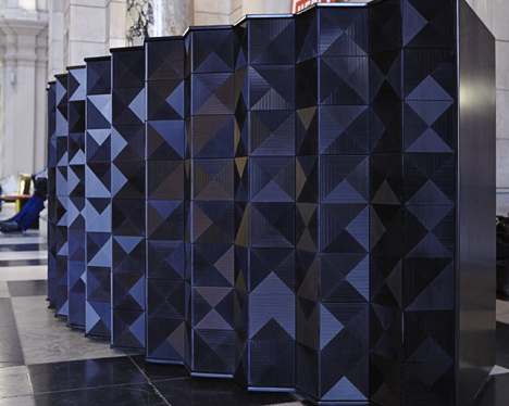 This image and top: Louvres' Desk by Giles Miller Studio in Deep Nocturne for the hub of the London Design Festival at V&A Museum