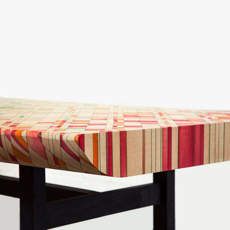Raw Edges shapes Endgrain wooden furniture to reveal colourful patterns