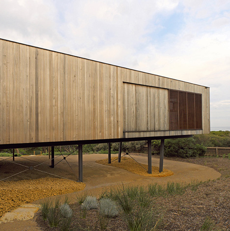 Great Ocean Road House by ITN Architects is raised on stilts to maximise ocean views