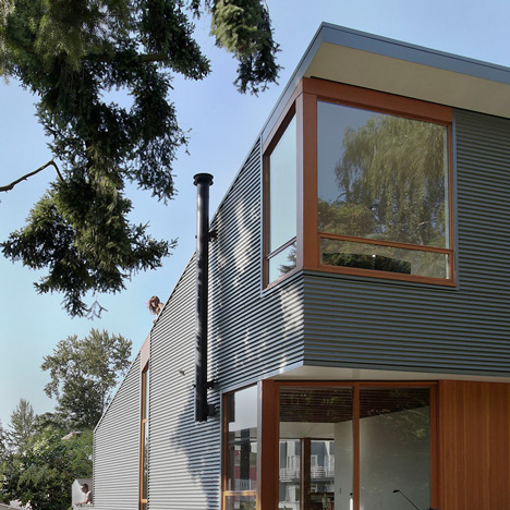 Main Street House contrasts corrugated metal surfaces with Douglas fir details