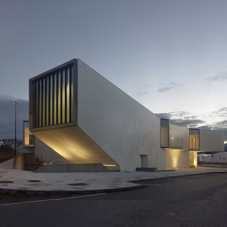 Library in Galicia by Óscar Pedrós features an auditorium pointing up to the sky
