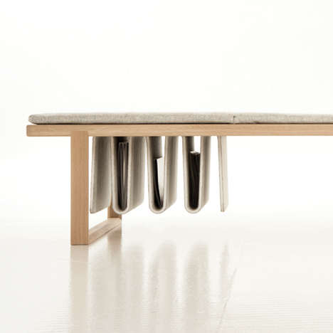 Noidoi's multifunctional Pulse daybed combines a resting space, magazine rack and serving tray