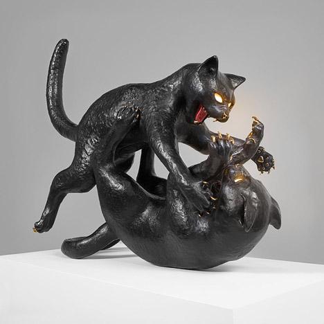 Studio Job's Pussy Cats sculptures capture aggressive feline behaviour