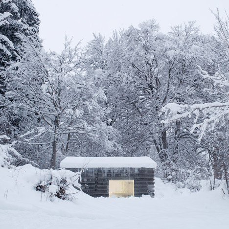 Concrete house by Nickisch Sano Walder<br /> Architects built from remnants of a log cabin