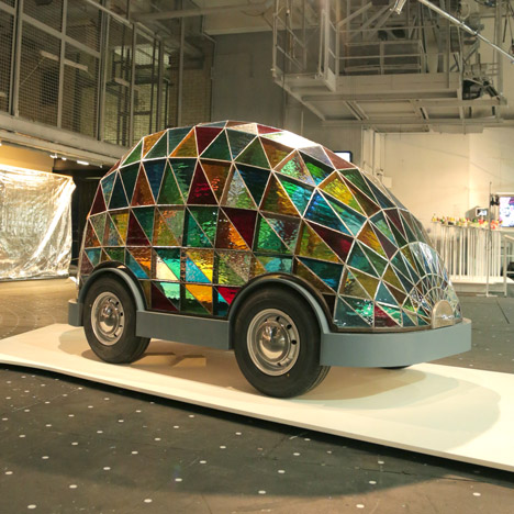 Stained Glass Driverless Sleeper Car of the Future by Dominic Wilcox at Dezeen and Mini Frontiers exhibition