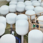 Moon Ji Bang installs a field of mushroom-shaped balloons outside a Seoul museum
