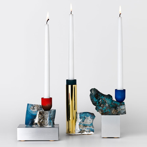 This month's Christmas inspired theme of the month explores the themes of candlelight: David Taylor turns discarded slag into decorative candlesticks. Image via Dezeen.