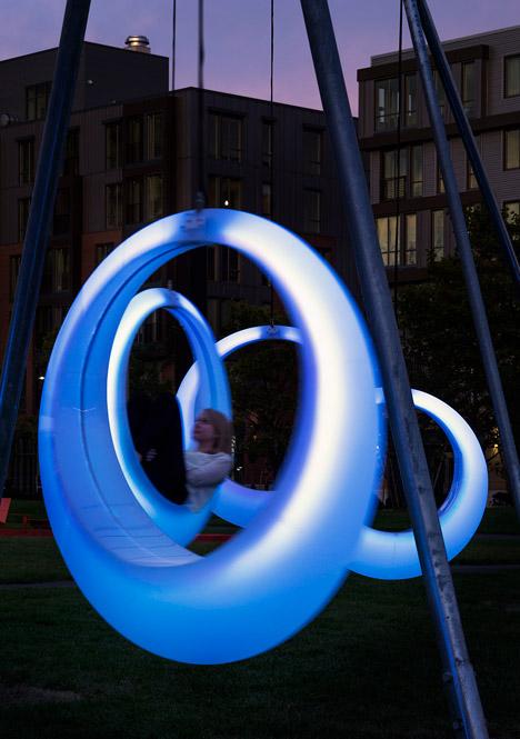 Höweler + Yoon Architecture installs a glow-in-the-dark swing set in Boston