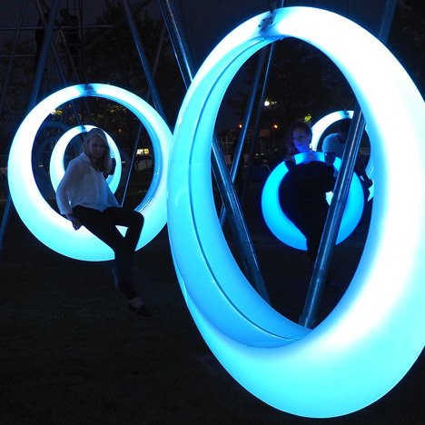 Höweler + Yoon Architecture installs a glow-in-the-dark swing set in Boston