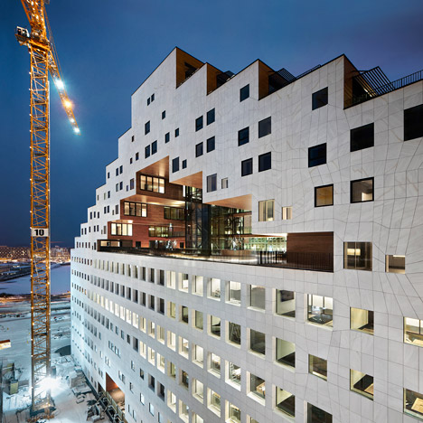 A-Lab adds pixelated tower with a hollow centre to Oslo's new waterfront development