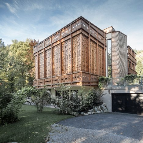 Intricately patterned fretwork surrounds Alexander Diem's Villa by the Lake