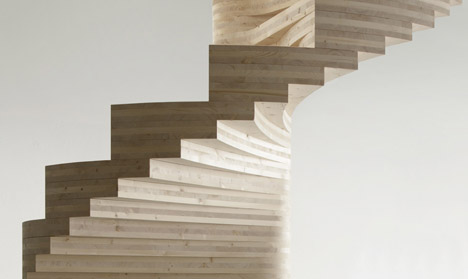 Risa spiral staircase by Tron Meyer features fanning timber