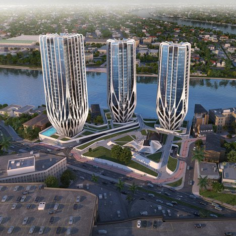 Zaha Hadid reveals trio of skyscrapers<br /> for Brisbane's riverfront