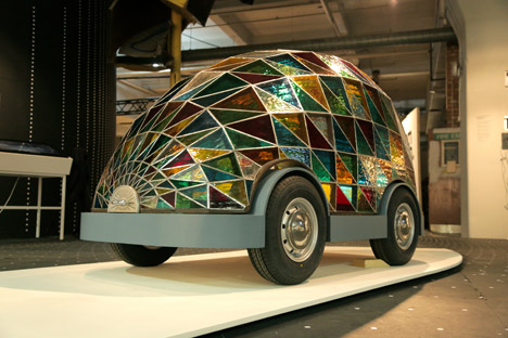 Stained Glass Driverless Sleeper Car of the Future by Dominic Wilcox for Dezeen and Mini Frontiers at London Design Festival