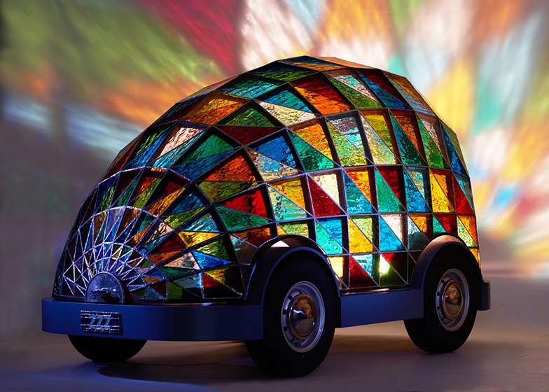 Stained-glass driverless car by Dominic Wilcox