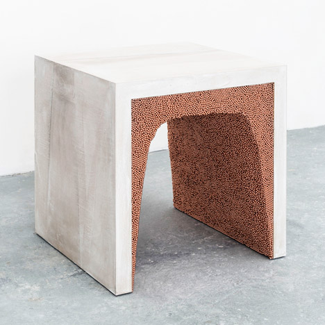 Amma Studio's stools and tables combine cement with BB pellets and coffee grounds