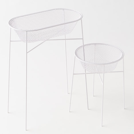 Nendo works with Japanese artisans to create bent-wire baskets