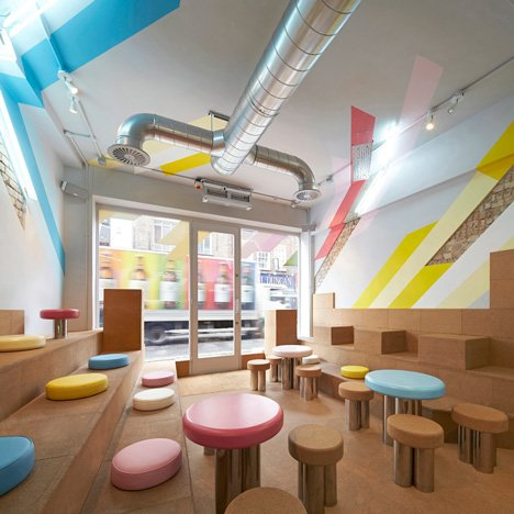 Gundry & Ducker's bubble tea cafe features cork seats and stripy paintwork
