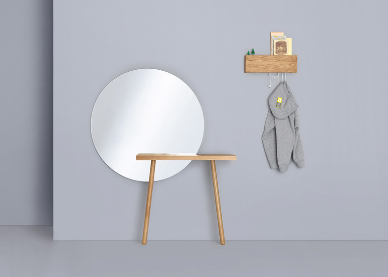 Florian Schmid's two-legged tables intersect with mirrors
