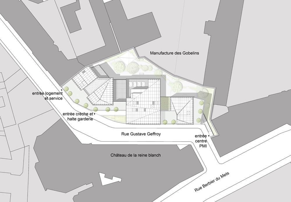 rh+ creates daycare centre with three-dimensional geometric facade