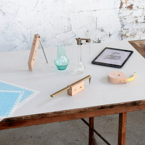 Analogue wood and brass tools transformed into digital measuring devices