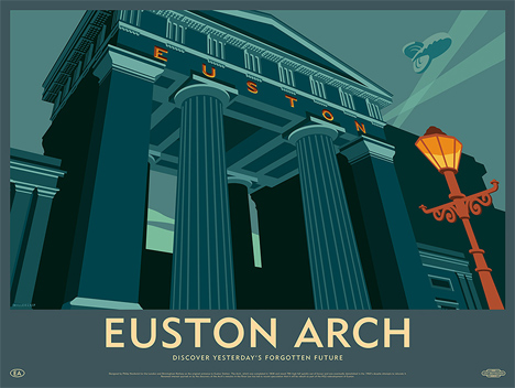This image: Euston Arch was demolished in the 1960s – Top image: part of the Birmingham New Street Signal Box print
