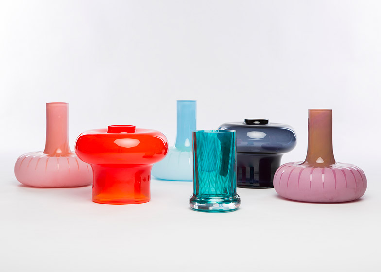 Kristine Five Melvær experiments with glass blowing to create Graphic Vases