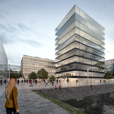 MVRDV's zigzagging buildings come top in Mainz basin contest
