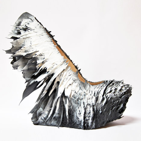 Jólan van der Wiel creates spiky shoes for Iris van Herpen using magnets