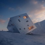 Proposed mountain hostel by Atelier 8000 looks like it has crashed into the Earth