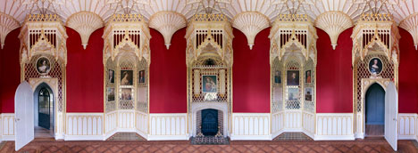 Interiors: Long Gallery Straberry Hill House by Horace Walpole, restored by Peter Inskip & Stephen Gee - photographed by Kilian O'Sullivan