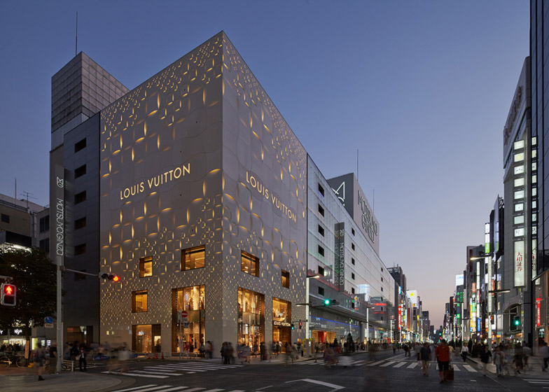 cbcfff73c Aoki Jun and Associates complete perforated monogrammed facade for Louis  Vuitton Tokyo